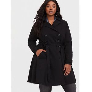 Torrid Black Slub Fit & Flare Buttoned Trench Coat